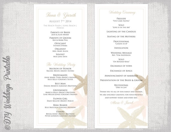 Ceremony Program Template, Printable Wedding Programs, Ceremony