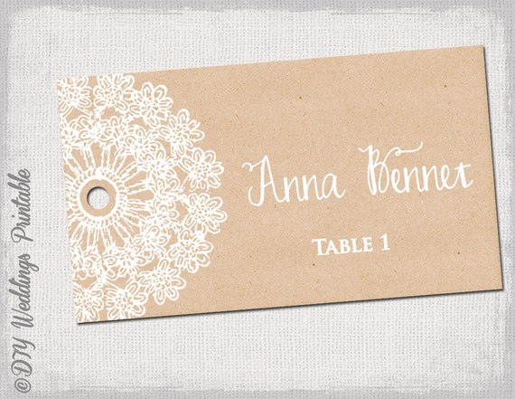 rustic escort cards template lace doily kraft. Black Bedroom Furniture Sets. Home Design Ideas