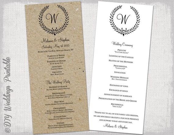 Rustic Wedding Program Template Black Leaf By Diyweddingsprintable