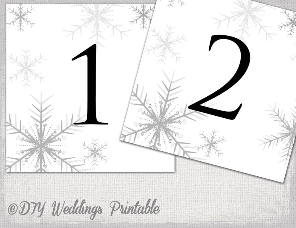 winter wedding table number template diy silver gray. Black Bedroom Furniture Sets. Home Design Ideas