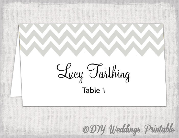 Silver place card template Chevron name by diyweddingsprintable