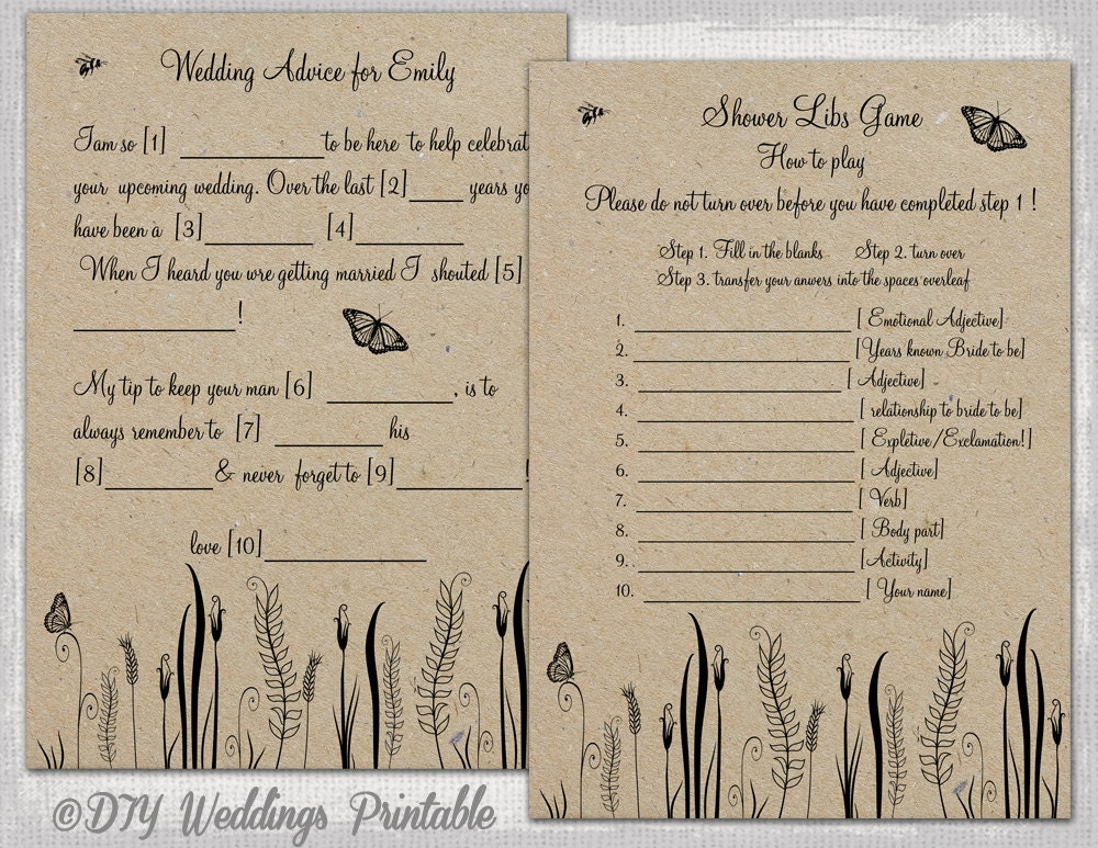 Wedding mad libs template printable rustic diy butterfly for Guest libs wedding edition template