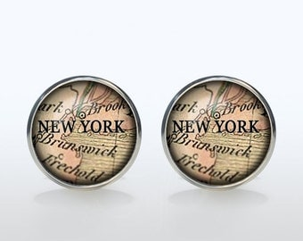 New York Map Cufflinks Silver plated New York Vintage Map Cuff links men and women Accessories Antique brown