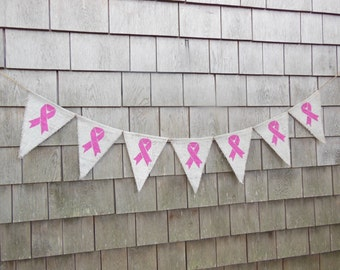 Breast Cancer Awareness Banner, Breast Cancer Survivor, Breast Cancer Banner, Burlap Garland, Breast Cancer Ribbons, Survivor Anniversary