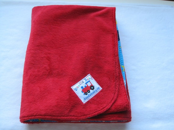 Stroller/Car Seat Blankie - Red micro-fleece front, flannel with Igglepiggle back