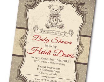 Bear Baby Shower Invitation. Vintage Retro Bear Baby Boy Shower Invite. Any custom color. DIY digital printable.