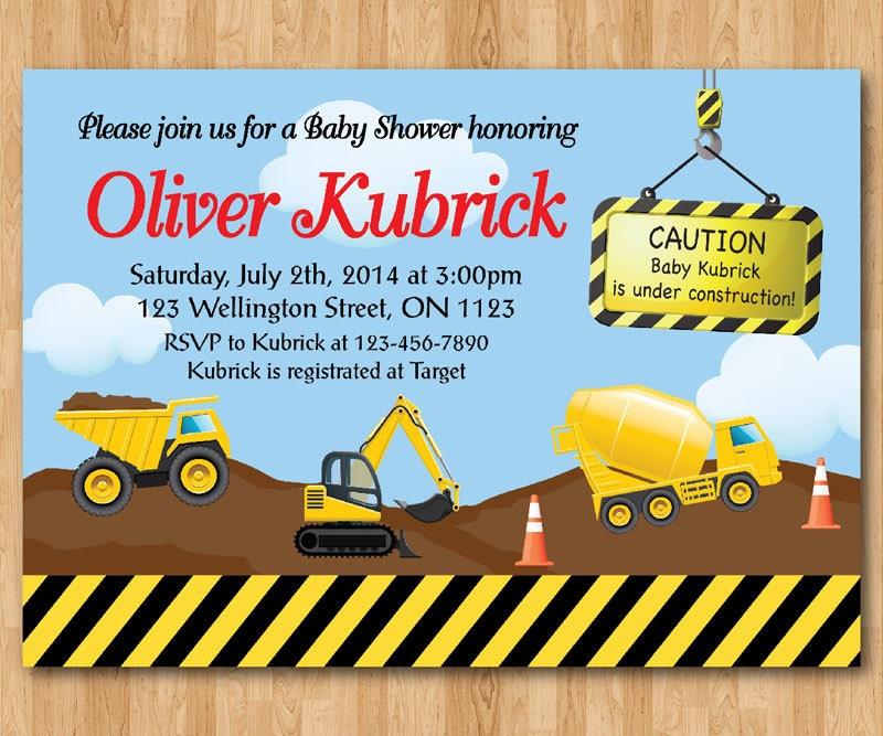 dump truck construction baby shower invitation baby boy