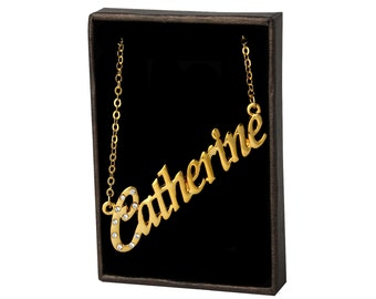 Name Necklace Catherine - Gold Plated 18ct Personalised Necklace with Czech Crystals