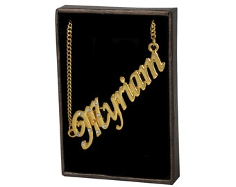 Name Necklace Myriam - Gold Plated 18ct Personalised Necklace with Czech Rhinestones
