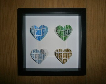 Handmade 3D postage stamp heart picture