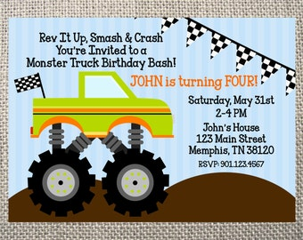 PRINTED or DIGITAL Monster Truck Dirt Mud Birthday Invitations 5x7 Customized Dirt Monster Truck Design 0.82 each