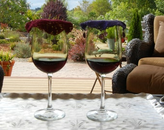 WINE GLASS COVERS, Keep unwanted Pests out of Your Wine, Decorative Crocheted Wine Glass Covers, Crocheted Doilies with Charms, Handmade.