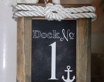 Nautical Themed Wood Framed Table Number