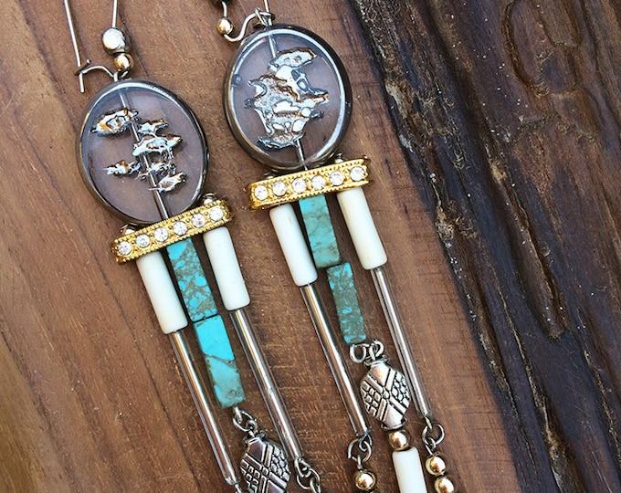 Handmade Boho Earrings, Tribal, Crystal, Dangle, Beaded, Turquoise, Rhinestone, Festival, Celebrity, Runway (Made from a Song Earrings)