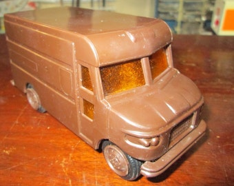 Vintage UPS Toy Delivery Van Vehicle Truck, 1977. Brown Plastic with sliding back door.