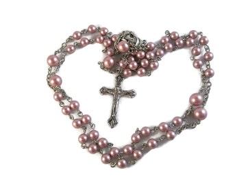 Pink Swarovski Crystal Pearl Rosary