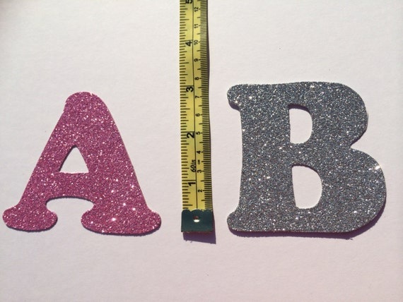 Glitter cardboard letter 3 inches 75cm tall from for Glitter cardboard letters