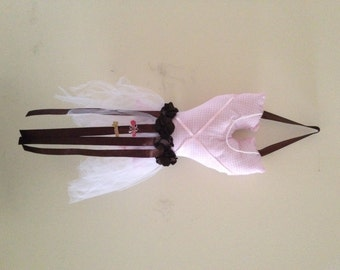 Tutu Barrette Holder - Pink Gingham with Chocolate Brown Ribbon