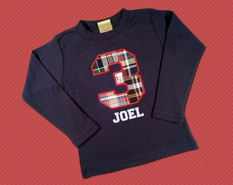 Boy's Birthday Shirt with Navy-Red Plaid Number and Embroidered Name - M6