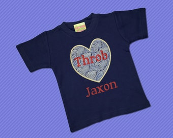 Boy's Valentine Shirt with Heart Throb and Embroidered Name