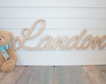 Natural wood finish Name Plaque Large Unpainted Personalized nursery name baby name wall hanging nursery decor wooden wall art, above a crib