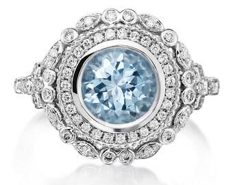 Aquamarine  Ring 1.88tw Diamond Vintage Engagement Ring Wedding Anniversary Ring 18k White Gold Aquamarine Cocktail  Pristine Custom Rings