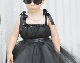 Black Audrey Hepburn inspired  tutu dress for toddler and little girls, photo shoot, costume, birthday party