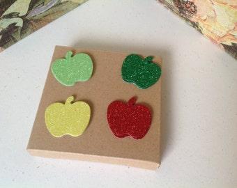 20 glittered apple die cuts in 4 colours