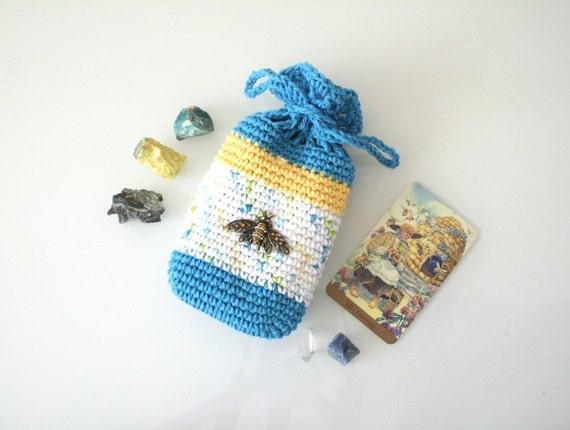 Honey Bee Pouch Handmade Crochet Tarot Bag Cotton white yellow