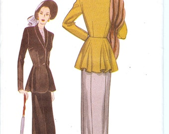Butterick 6256  UNCUT Retro 1947 Misses' Petite Jacket and Skirt Sewing Pattern ID509