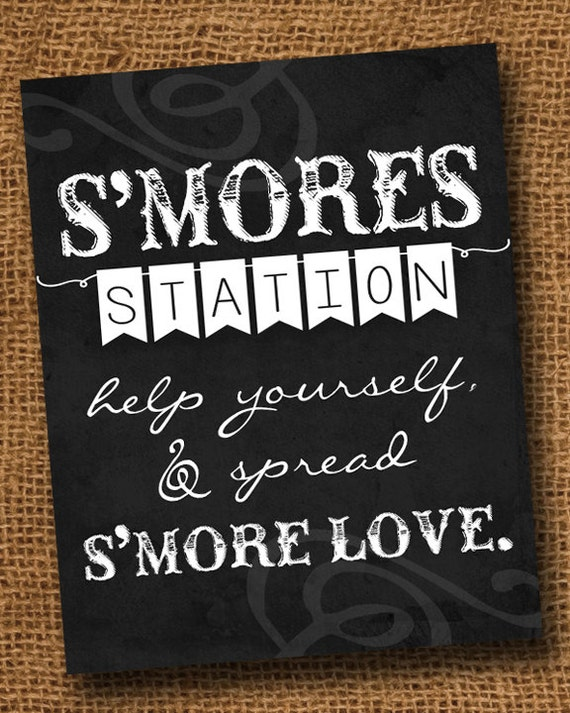 Printable Smores Sign | DIY S'mores Station Print | Rustic ...