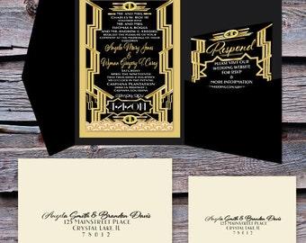 Great Gatsby Wedding Invitation and RSVP Set