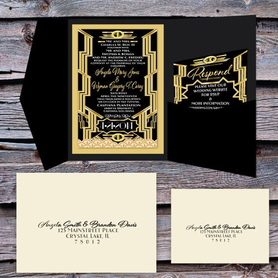 great gatsby wedding invitation and rsvp set - Great Gatsby Wedding Invitations