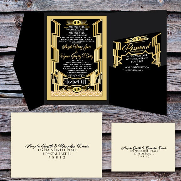 Great Gatsby Wedding Invitation And RSVP Set