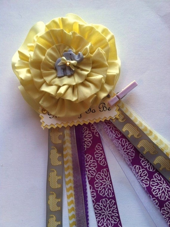 elephant mommy to be corsage yellow purple baby shower corsage