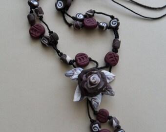 Brown Rose Necklace - Unique Handmade Necklace