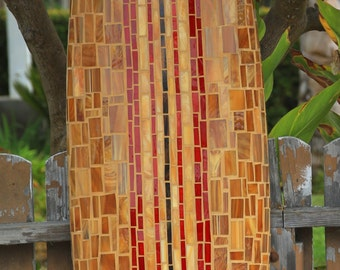 Red Striped Glass Mosaic Surfboard  6 feet 3 inches