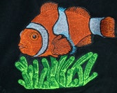 """Velvety soft 60""""x70"""" blanket throws; choose one of two styles: black clownfish, or turquoise dreamcatcher"""