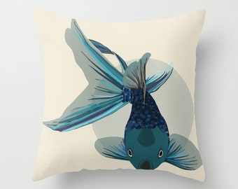 Colorful Fish Throw Pillow with Insert