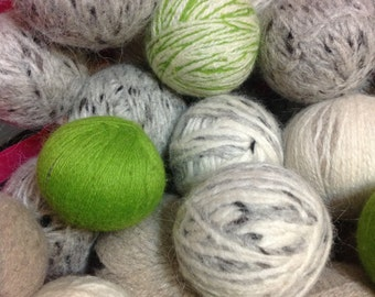 Recycled Wool Dryer Balls, bulk set of 6, assorted colors