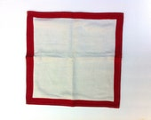 Vintage Upcycled Red Border Cotton Pillow Sham - Handmade