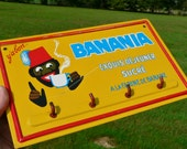 """1960's original French Banania chocolate drink beverage advertising """" Ad """"plaque for cafe bar. Publicitaire ( pub ) ancienne en tole / metal"""