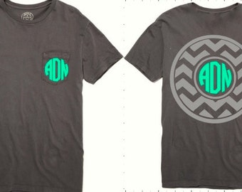 Monogrammed FRONT and BACK Chevron Tee, Monogram Tee Shirt