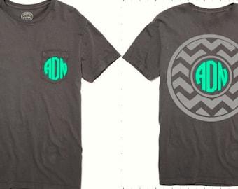 Monogrammed FRONT and BACK Chevron Tee, Monogram Tee Shirt