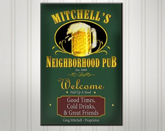 Personalized Neighborhood Bar Sign, Burgundy or Green Man Cave Pub Sign, Custom Beer Sign, Man Cave Bar Decor