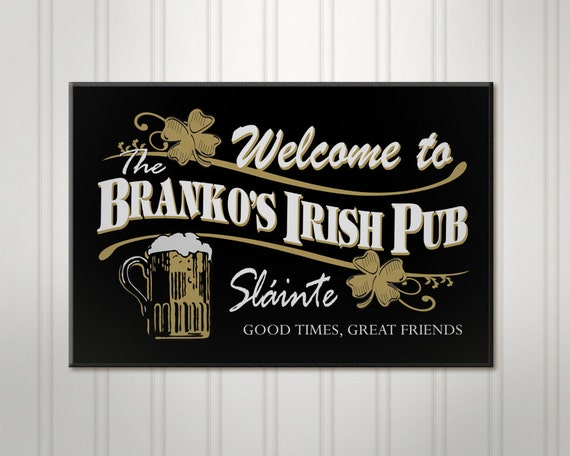 Irish Man Cave Signs : Personalized irish pub sign mancave bar by