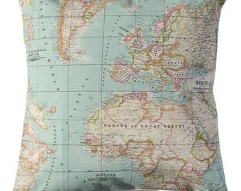 world map decorative throw pillow - map cushion - atlas pillow cover - atlas map - housewares - 16 inch - 40cm - tela algodón - with insert.