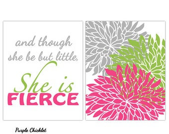 and though she be but Little Wall Art She is Fierce fierce Lime Pink Gray Art for Girls Room Flower Bursts Nursery Art Prints 211a