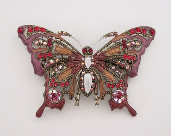 Crystal Butterfly Barrette Hair Clip Accessory Antique Gold Tone Red