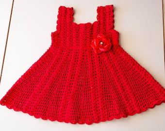SPECIAL OCCASION DRESS - Baby Dress, Baby Christening Dress, Crochet Red dress